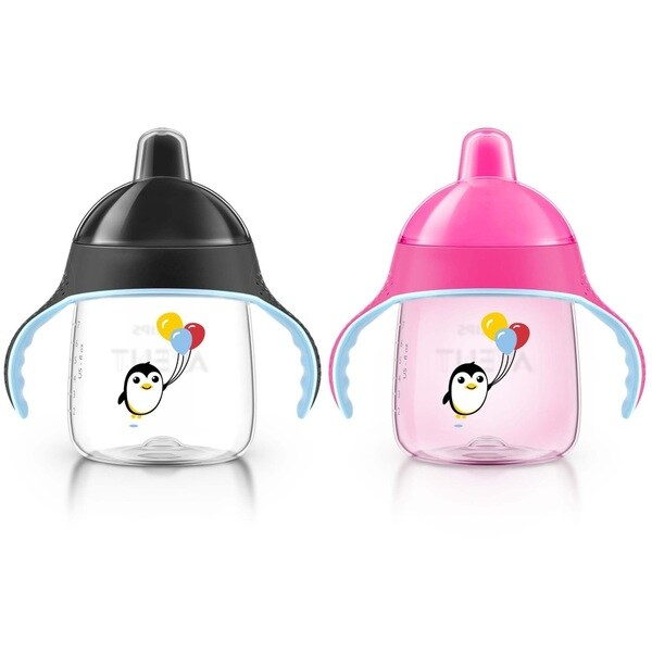 Philips Avent My Penguin Pink/Black Plastic 9-ounce Sippy Cups (Set of 2) 18920802