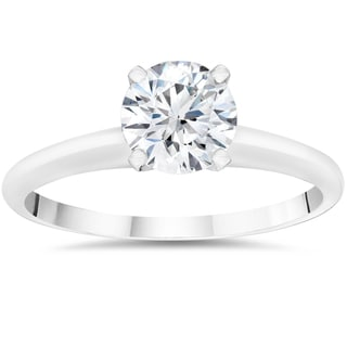 14k White Gold 1ct Round Cut Lab Grown Eco Friendly Diamond Solitaire Engagement Ring (F-G, VS1-VS2)