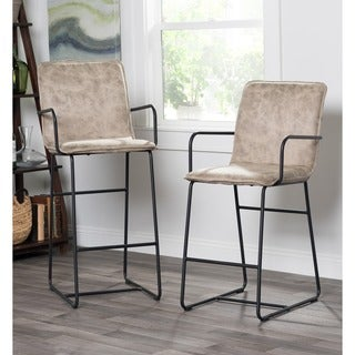 Kosas Home Walter Taupe Semi-natural Leather 30-inch Bar Stool