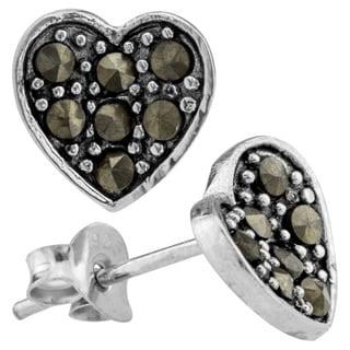 Haven Park Marcasite Heart Earrings