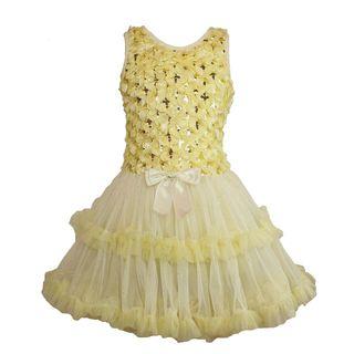 Popatu Girl's Cream Ruffle Popatu Dress