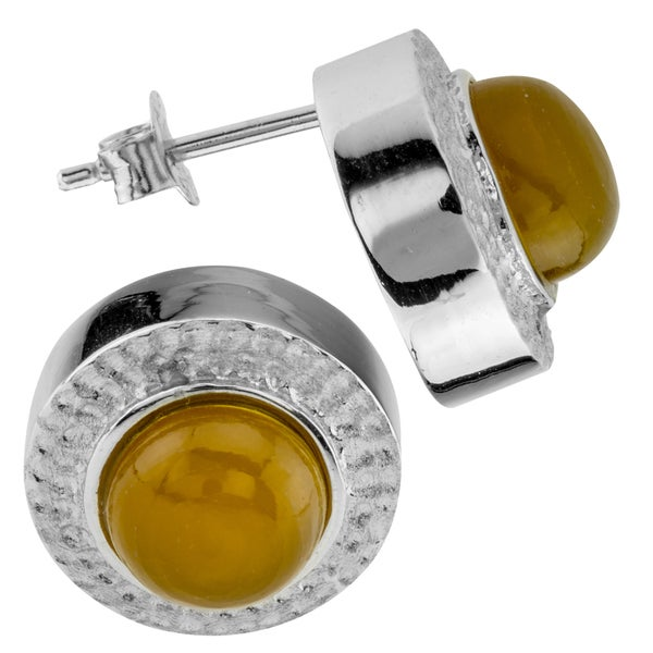 Haven Park Sterling Silver Amber Stud Earrings