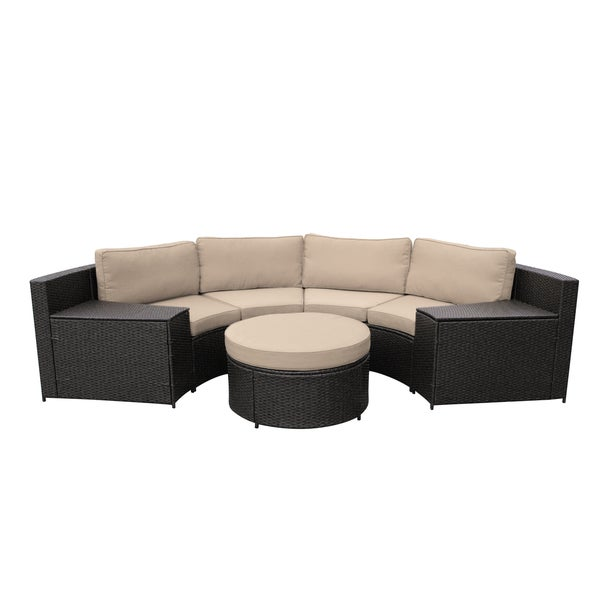 Cartagena Curved Modular Wicker Sofa With Cushions
