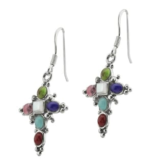 Haven Park Multi-Stone Cross Earrings