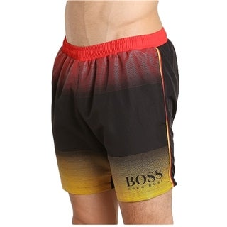 Hugo Boss Men's Multicolored Polyester Polka Dot and Striped Swim Trunks