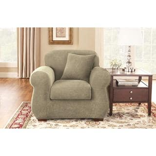 Sure Fit Stretch Pique Knit Separate Seat Chair Slipcover