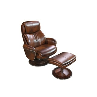 Cozzia Black/Brown Leather Ergonomic Chair and Ottoman
