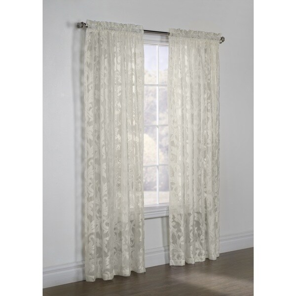 Jacqueline Scroll White Lace Curtain Panel