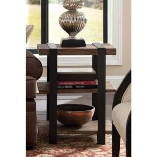 Carbon Loft Kenyon Reclaimed Wood with Metal Straps 3-shelf End Table