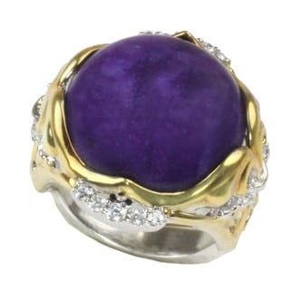 One-of-a-kind Michael Valitutti Cabochon Charoite with Round White Sapphire Ring (Size 8)
