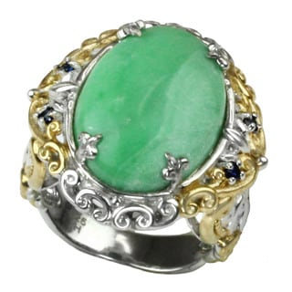 One-of-a-kind Michael Valitutti Oval Variscite with Round Blue Sapphire Ring