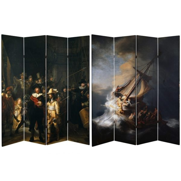 Double Sided Works of Rembrandt 6-foot Tall Canvas Room Divider 18922497