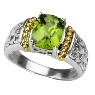 One-of-a-kind Michael Valitutti Cushion Check Top Peridot Ring