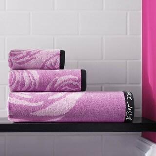 Betsey Johnson Jacquard Bold Roses Lavander/Grey Cotton 3-piece Towel Set
