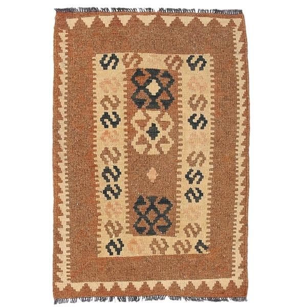 Herat Oriental Afghan Hand-woven Wool Mimana Kilim (2'1 x 3'2) - 2'1 x 3'2 18929889