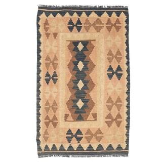 Herat Oriental Afghan Hand-woven Mimana Kilim Tan/ Ivory Wool Rug (1'11 x 3'1)