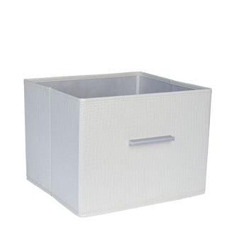 Household Essentials White Canvas Open Storage Bin With Aluminum Handles