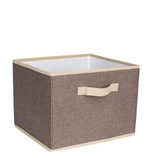 Household Essentials Brown Linen 10-inch x 13-inch x 11.5-inch Open Storage Bin