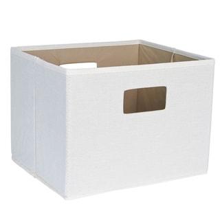 Household Essentials White/Grey/Green/Off-white/Brown Fabric 10-inch x 13-inch x 11.5-inch Cutout Handles Open Storage Bin