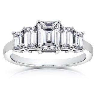 Annello Platinum 2 1/3ct TDW Emerald-cut Certified Diamond 5 Stone Engagement Ring (H, VS1)