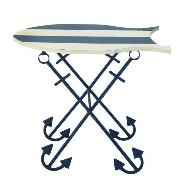 Blue/White Wood Nautical Fish Table