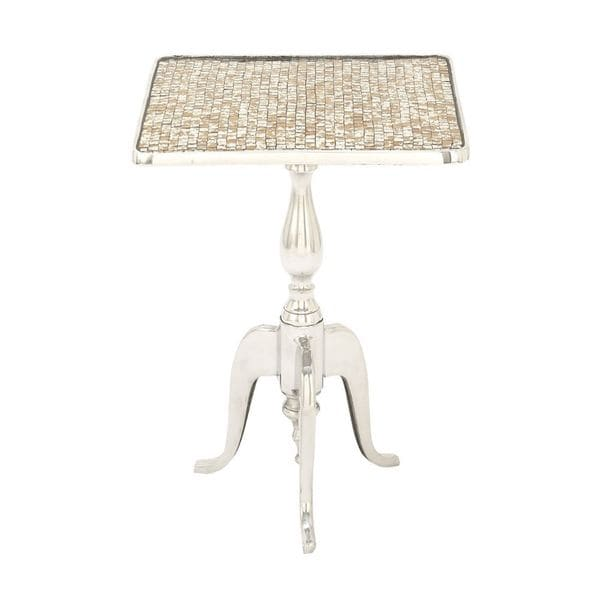 Silver Finish Aluminium/Tile Mosaic Square Table