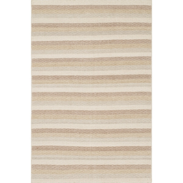 Hand-woven Poplin Natural/ Multi Cotton Rug (2'3 x 3'9)