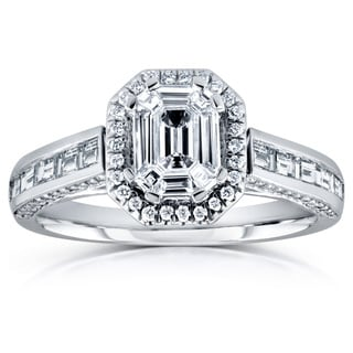 Annello 14k White Gold 1 1/6ct Emerald and Baguette Diamond Art Deco Engagement Ring (H-I, I1-I2)
