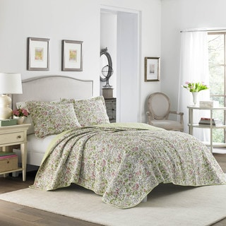 Laura Ashley Delia Neutral Cotton Reversible Quilt Set