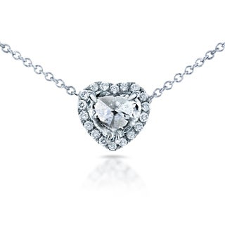 Annello 14k White Gold 5/8ct TDW Culet Up Heart Diamond Halo Necklace (F, I1)
