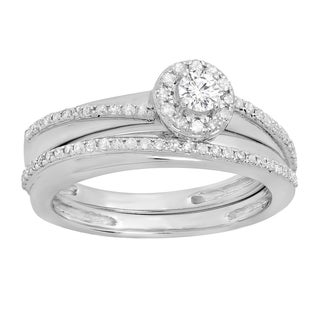 10k Gold 1/2ct TDW White Diamond Halo Engagement Ring Set (I-J, I1-I2)