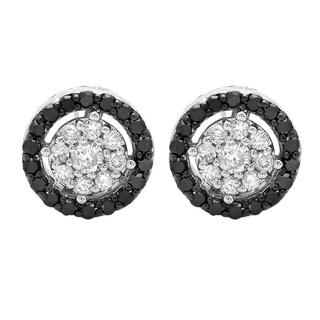 10k Gold 1/2ct Round Black and White Diamond Circle Cluster Stud Earrings (I-J, I2-I3)