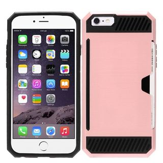 Insten Rose Gold/ Black Hard PC/ Silicone Dual Layer Hybrid Rubberized Matte Case Cover with Card Slot For Apple iPhone 6/ 6s