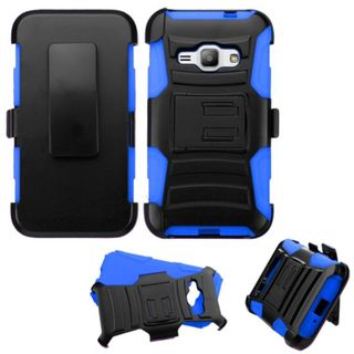 Insten Hard PC/ Silicone Dual Layer Hybrid Case Cover with Holster For Samsung Galaxy Amp Prime/ J1 (2016)