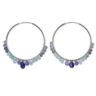 Sterling Silver 'Following Sea' Multi-gemstone Earrings (Thailand)
