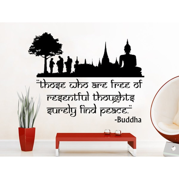 Quote Lotus Flower Yoga Buddha Those Who Are Free Of Resentful Thoughts Surely Find Peace Wall Art Sticker Decal