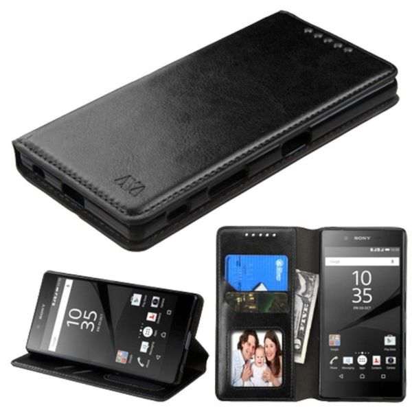 Insten Leather Case Cover with Stand/ Wallet Flap Pouch/ Photo Display For Sony Xperia Z5