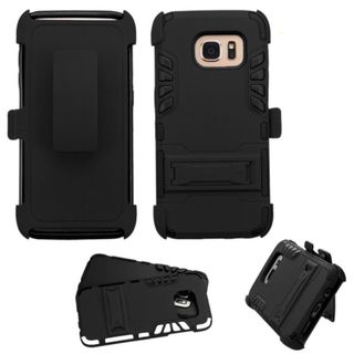 Insten Hard PC/ Silicone Dual Layer Hybrid Rubberized Matte Case Cover with Stand/ Holster For Samsung Galaxy S7 Edge