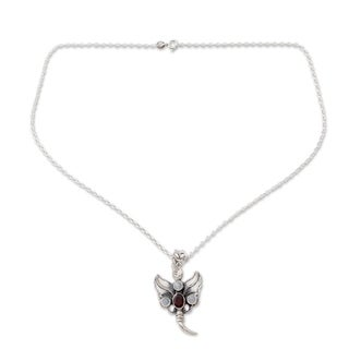 Sterling Silver 'Butterfly Triumph' Moonstone Garnet Necklace (India)