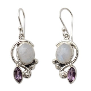 Sterling Silver 'Yours Forever' Moonstone Amethyst Earrings (India)