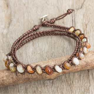 Handcrafted Leather 'Phuket' Jasper Bracelet (Thailand)