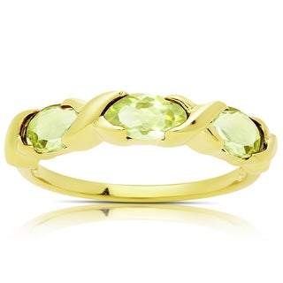 Dolce Giavonna Gold Over Sterling Silver Peridot Three Stone Ring