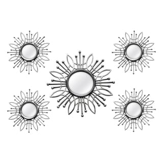 Stratton Home Decor Silver Metal 5-piece Round Burst Wall Mirrors