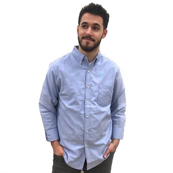 Reed Edward Men's Light Blue Cotton/Polyester Long Sleeve Oxford Button-Down Shirt