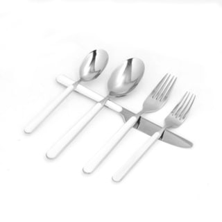 Red Vanilla Elite White/Silver Resin/Stainless Steel 60-piece Place-setting Flatware Set