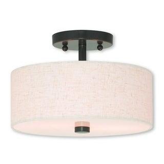 Livex Lighting Meridian English Bronze 2-light Semi-flush Mount Fixture