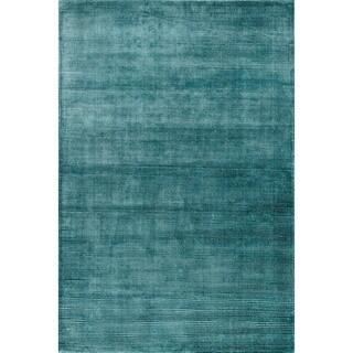 Hand-loomed Jewel Aqua Viscose Rug (5'0 x 7'6)