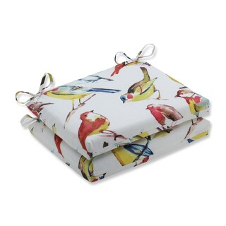 Pillow Perfect Outdoor / Indoor Bird Watchers Spring Squared Corners Seat Cushion (Set of 2)