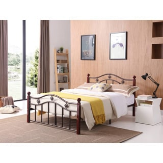 Hodedah Bronze/Mahogany Finish Metal Platform Bed