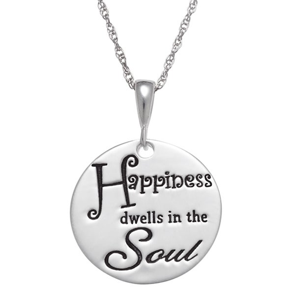 Sterling Silver 'Happiness Dwells in the Soul' Disc Pendant Necklace